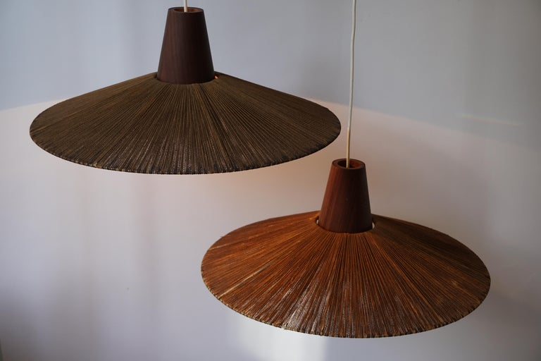 Two Teak and Cord Shade Hanging Lamps For Sale 10