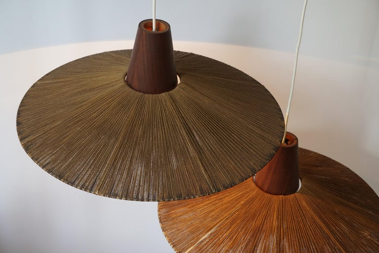 Two Teak and Cord Shade Hanging Lamps For Sale 11