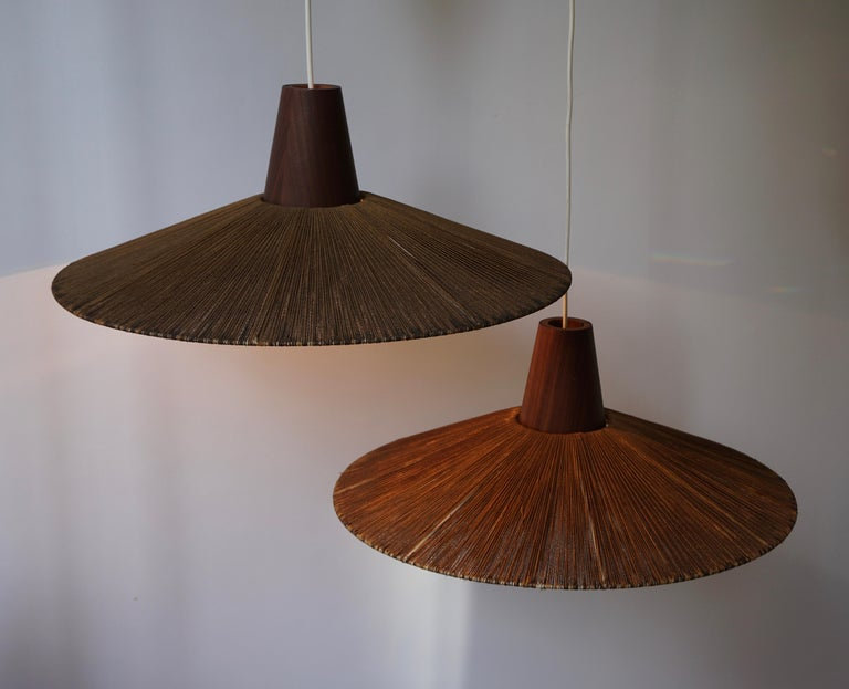 Two Teak and Cord Shade Hanging Lamps For Sale 12