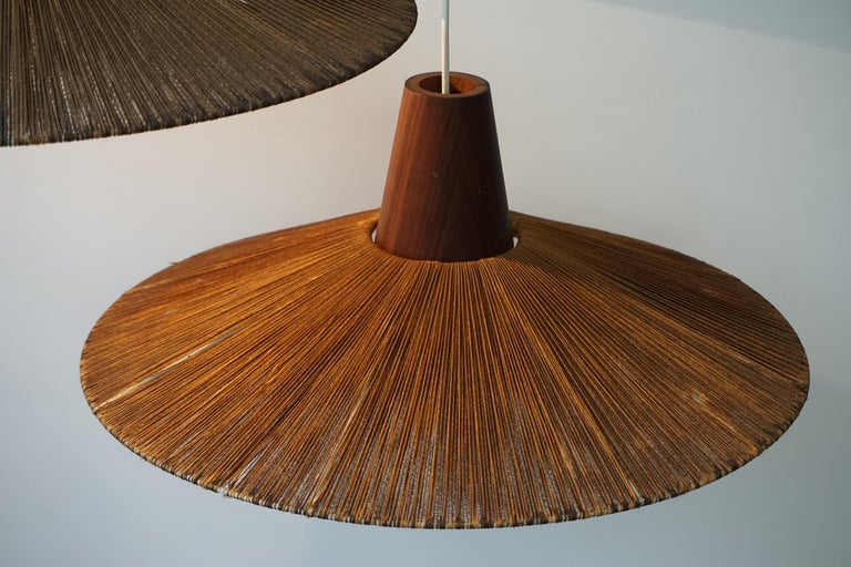 Two Teak and Cord Shade Hanging Lamps For Sale 13