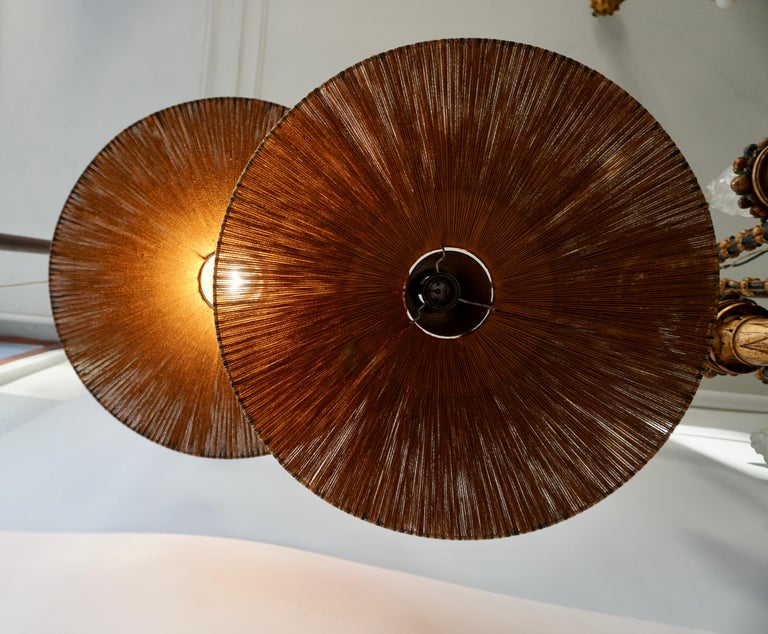 Mid-Century Modern Two Teak and Cord Shade Hanging Lamps For Sale