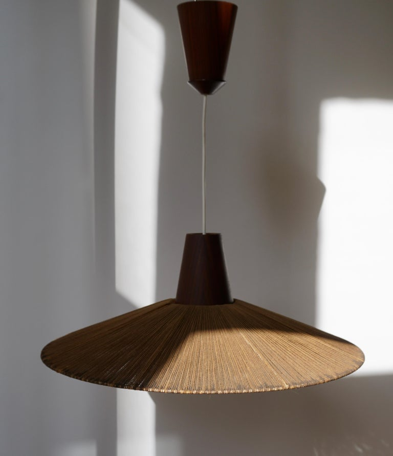 20th Century Two Teak and Cord Shade Hanging Lamps For Sale