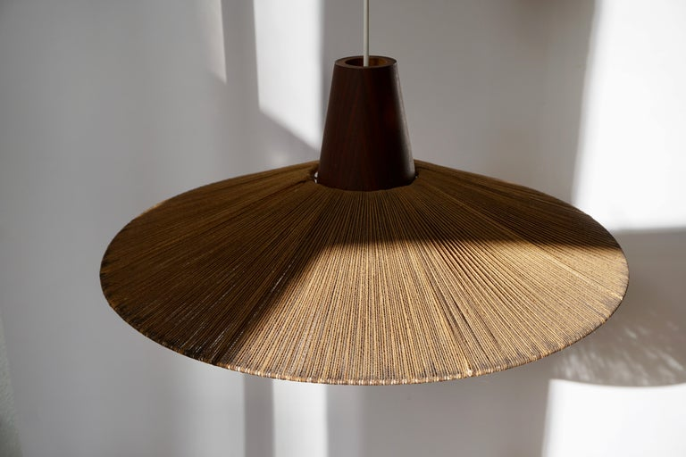 Two Teak and Cord Shade Hanging Lamps For Sale 1
