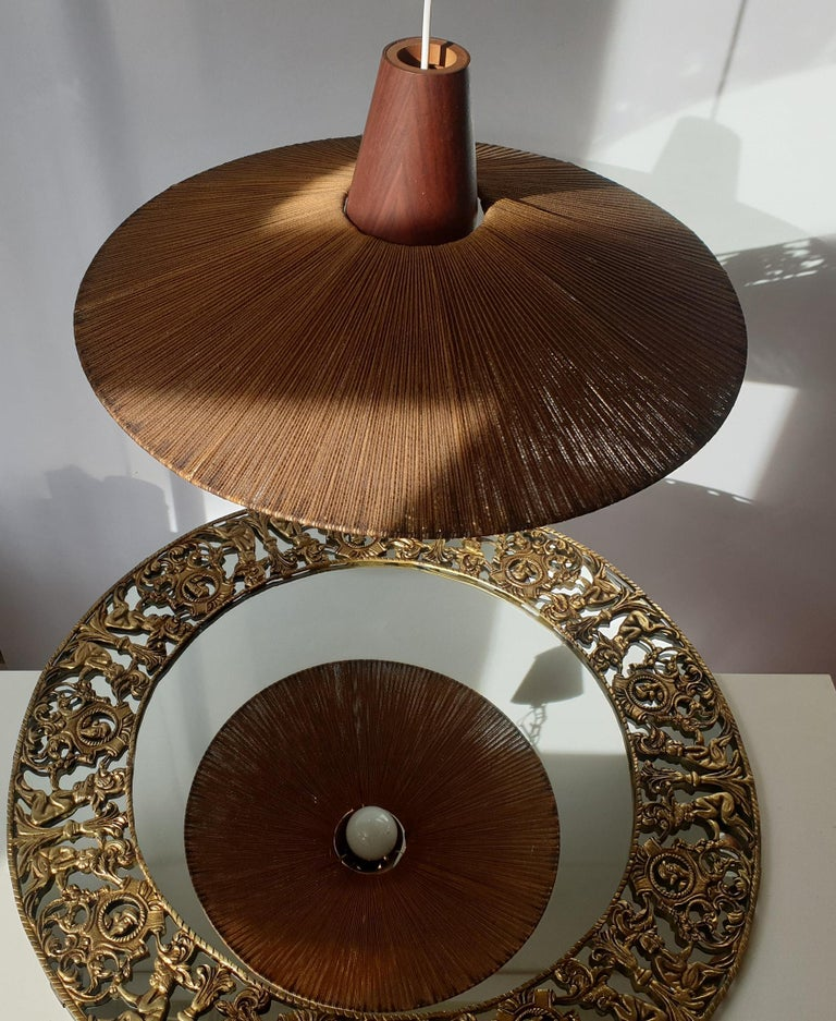 Two Teak and Cord Shade Hanging Lamps In Good Condition For Sale In Antwerp, BE