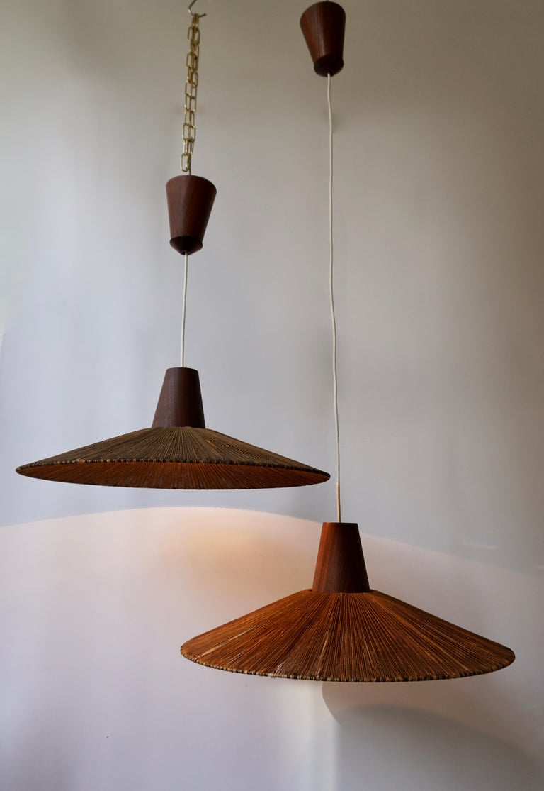 Two Teak and Cord Shade Hanging Lamps For Sale 2