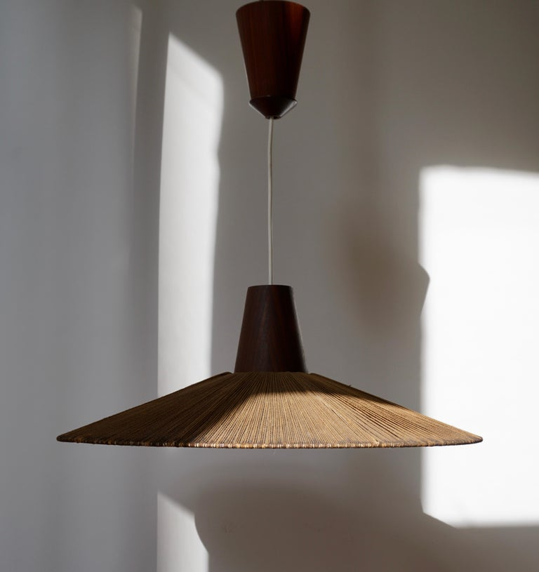 Two Teak and Cord Shade Hanging Lamps For Sale 3