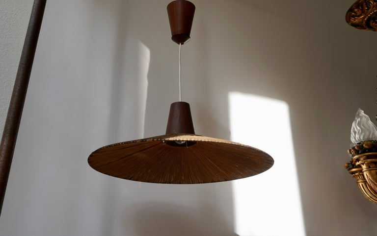 Two Teak and Cord Shade Hanging Lamps For Sale 4