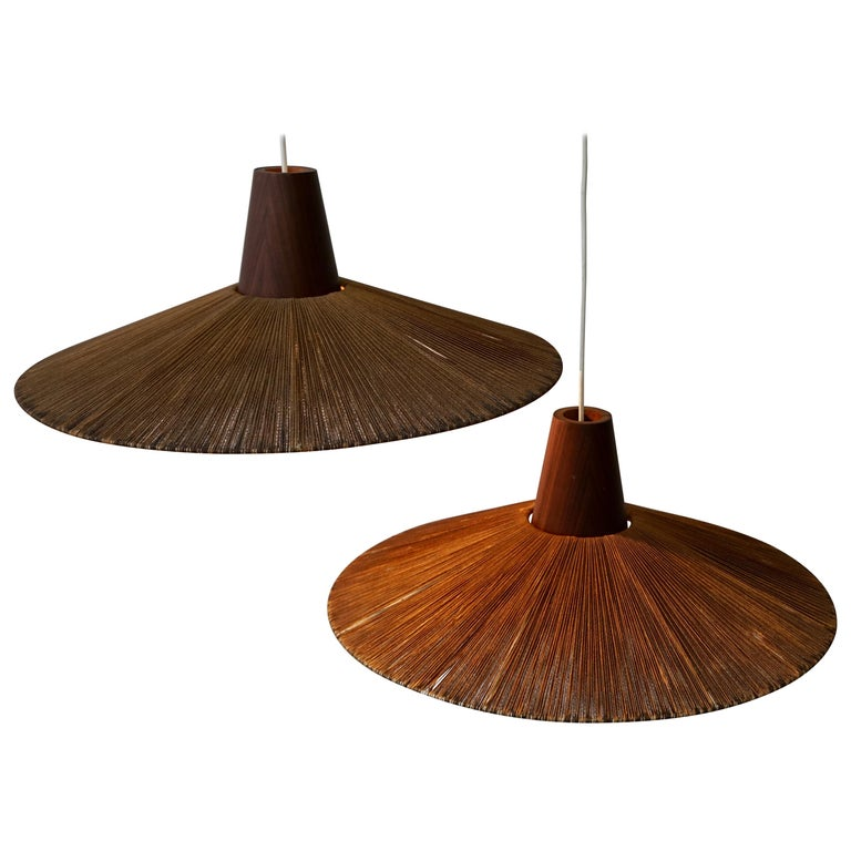 Two Teak and Cord Shade Hanging Lamps For Sale