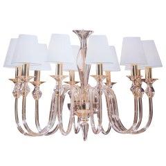 Two Ten-Arm Clear Murano Glass & Brass Modern Neoclassical Chandeliers