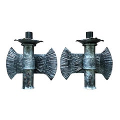 Two Textured Hard Wired Brutalist Art Deco Italian Burst Flame Sconces in Iron