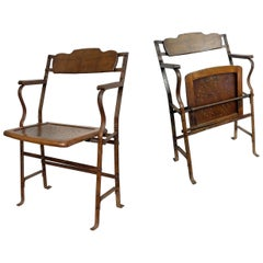 Two Theatre Chairs, Wood and Iron, France, circa 1920