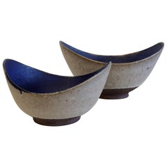 Two Thomas Toft Bowls Studio Pottery, Denmark, 1950s, Danish Modern