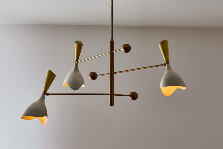 Two Three Arm Chandeliers by Stilnovo In Good Condition For Sale In Los Angeles, CA