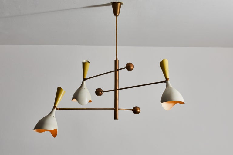 Mid-20th Century Two Three Arm Chandeliers by Stilnovo For Sale