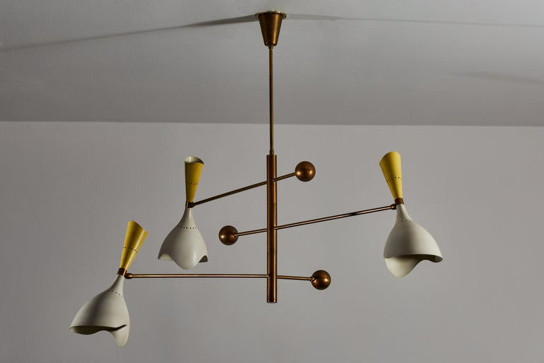 Metal Two Three Arm Chandeliers by Stilnovo For Sale