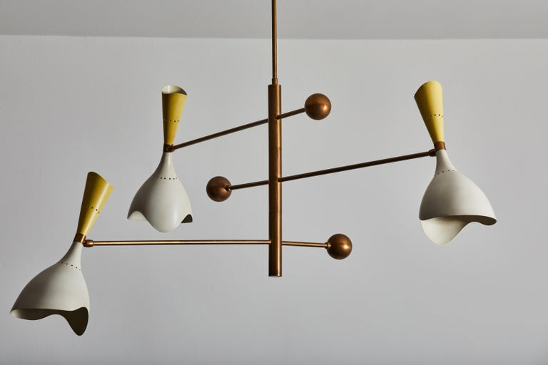 Two Three Arm Chandeliers by Stilnovo For Sale 1