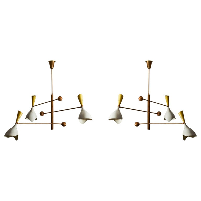 Two Three Arm Chandeliers by Stilnovo For Sale