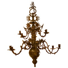 Two-Tier 12 Arm Brass Chandelier with Sunflower Reflectors, circa 1760