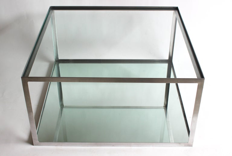 American Two-tier Aluminum Coffee Table For Sale