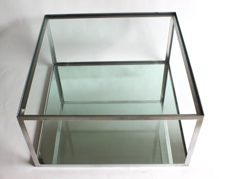 Two-tier Aluminum Coffee Table In Good Condition For Sale In East Hampton, NY