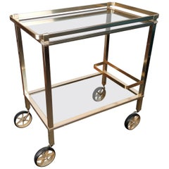 Two-Tier Brass and Glass Bar Cart with Removable Top Tray, Italy, 1970s