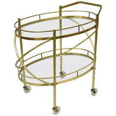 Two-Tier Brass and Glass Oval Bar Cart Mid-Century Modern Serving Trolley Table