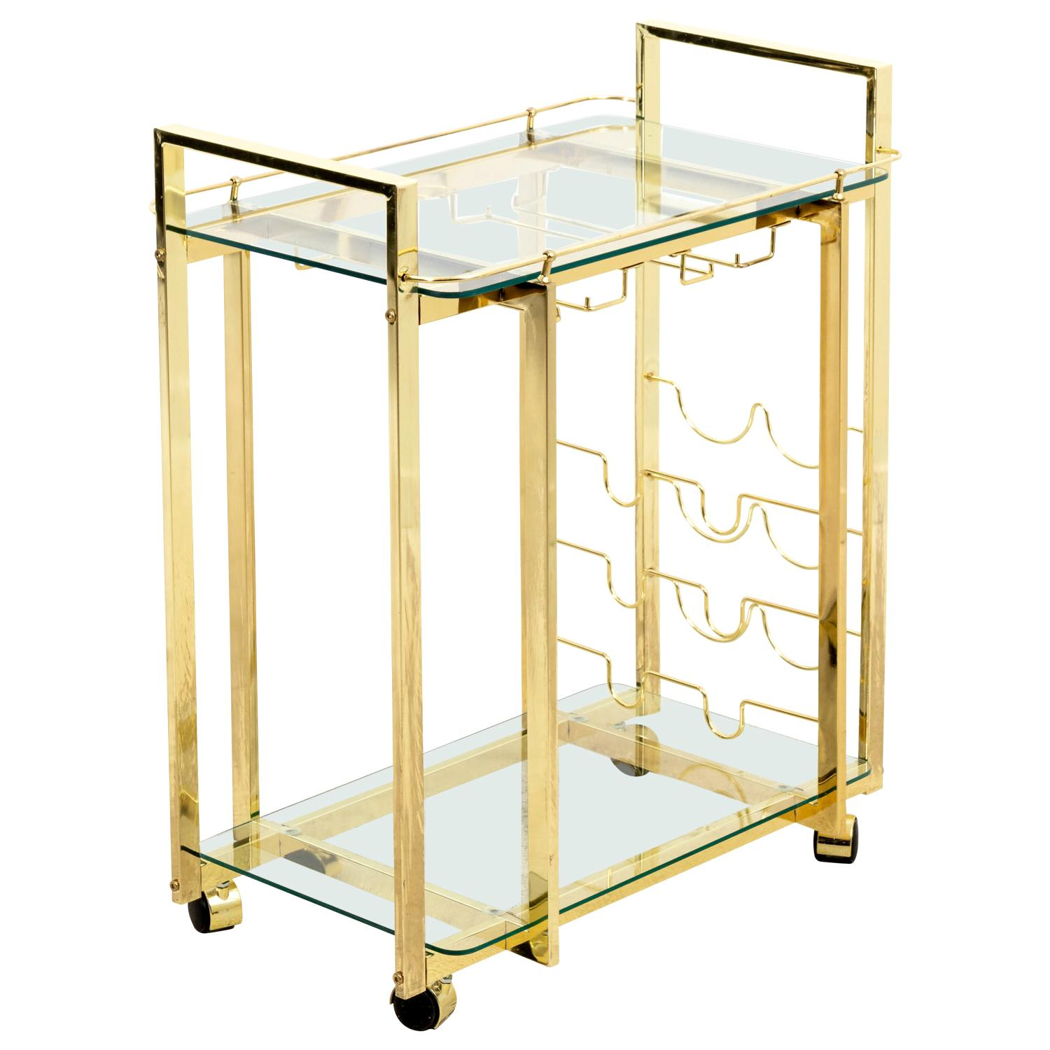Two-Tier Brass Bar Cart on Casters
