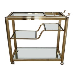Two-Tier Brass Bar Cart with Mirrored Frame Glasses, Italy, 1970s