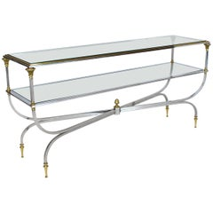 Two-Tier Brass Chrome Glass Top Console Table