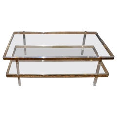 Two-Tier Brass Coffee Table Lucite Signed by Charles Hollis Jones