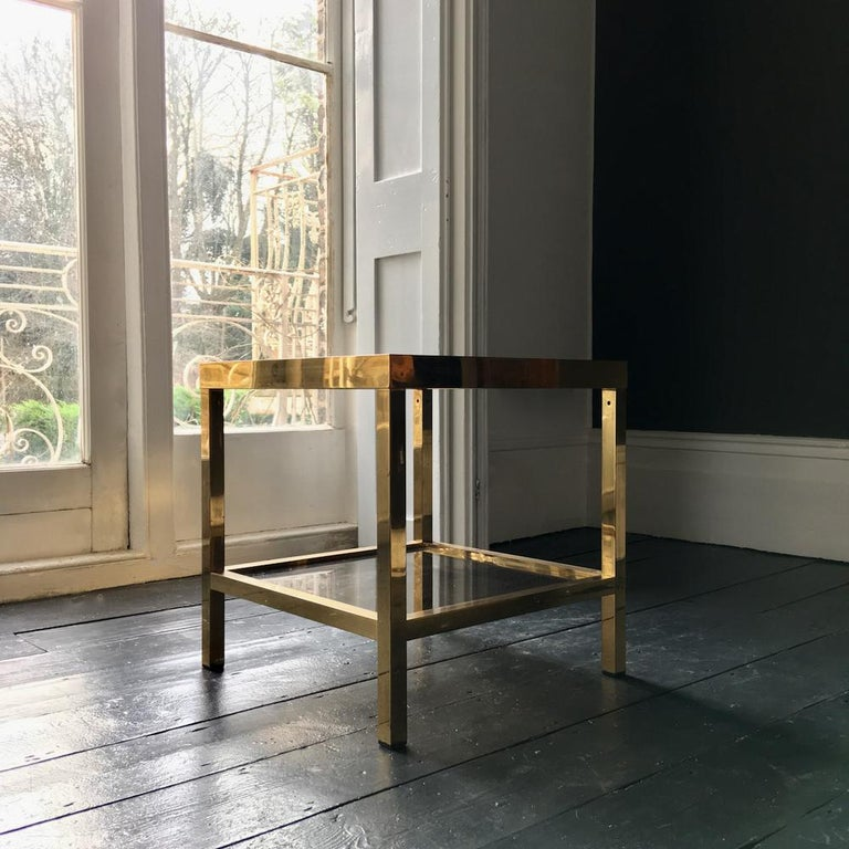 Two-Tier Brass Side Table with Tinted Glass Shelves, European, 1970s For Sale 3