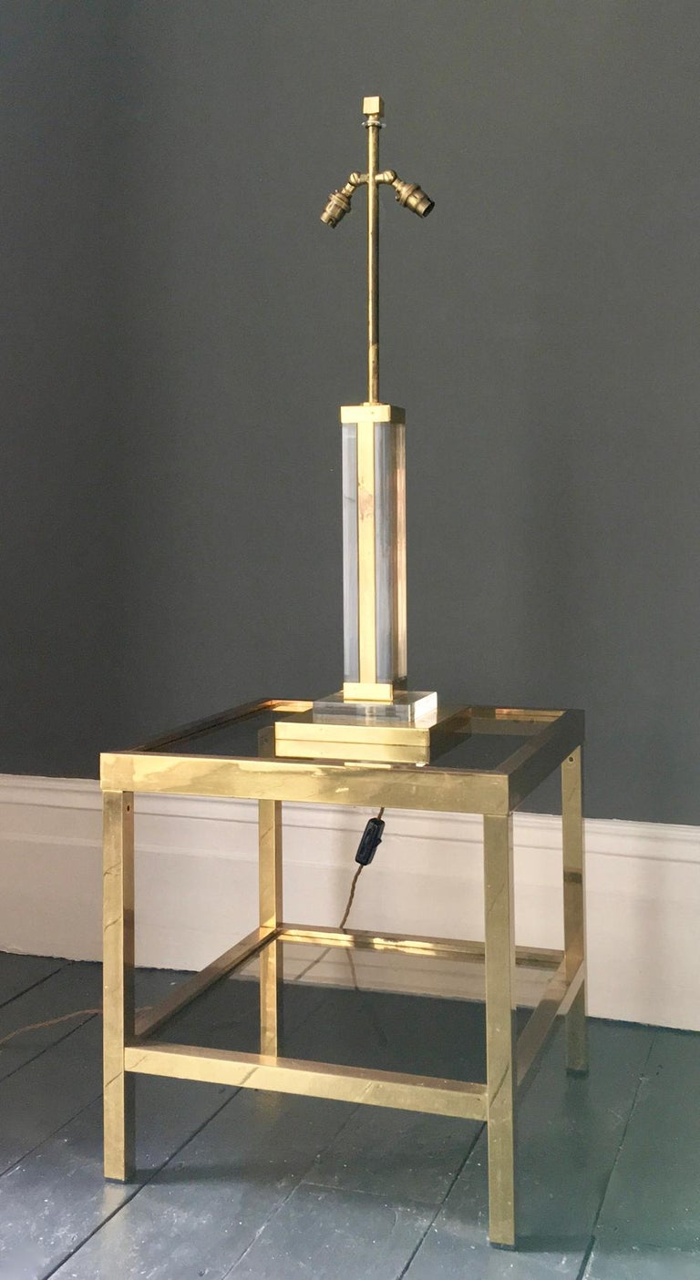 Two-Tier Brass Side Table with Tinted Glass Shelves, European, 1970s For Sale 4