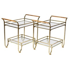 Two-Tier Bronzed Side Tables with Light Oak Handles