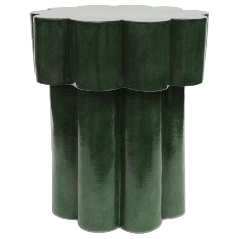 Two-Tier Contemporary Ceramic Chrome Green Cloud Side Table For Sale