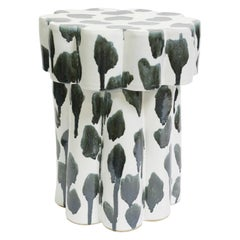 Two-Tier Contemporary Ceramic Drippy Silver Cloud Side Table