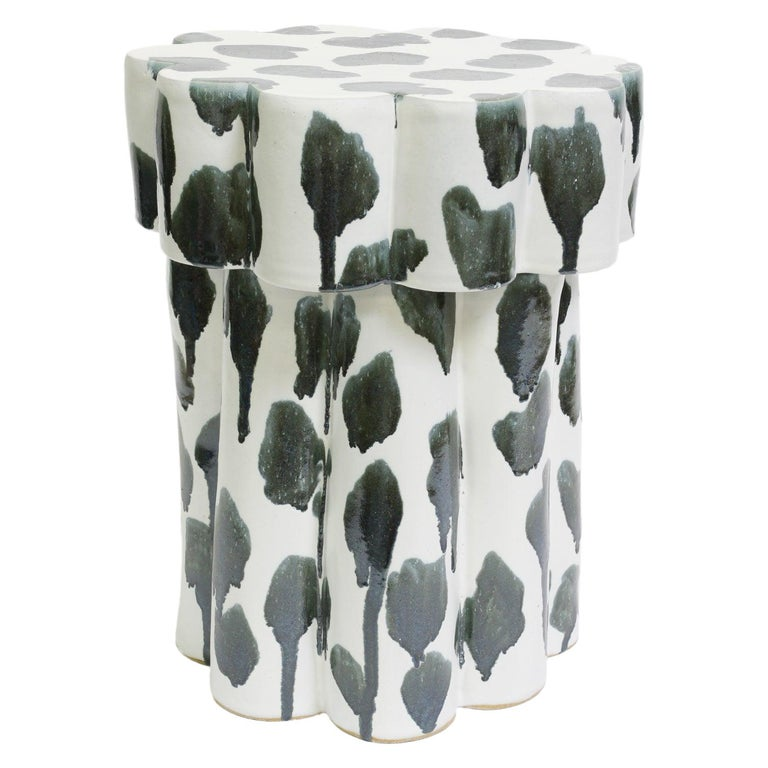 Two-Tier Contemporary Ceramic Drippy Silver Cloud Side Table For Sale