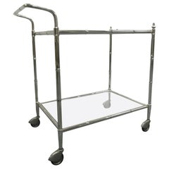 Two-Tier Faux Bamboo Chrome Bar Cart