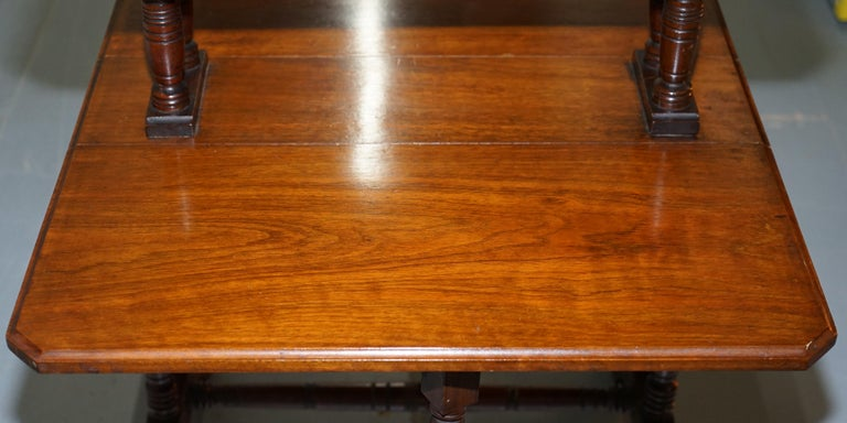 Two Tier Folding Victorian Mahogany Side End Wine