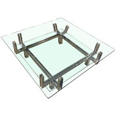 Two-Tier Square Glass Top and Nickel Base Coffee Table, Italy, Midcentury