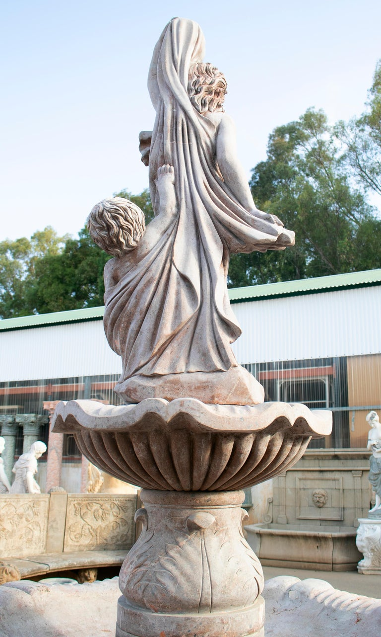 20th Century Two Tier Hand Carved Brown Marble Fountain with Pool and Sculptures For Sale