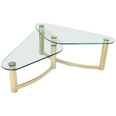 "Two-Tier ""L"" Shape Glass and Brass Organic Kidney Shape Coffee Table"
