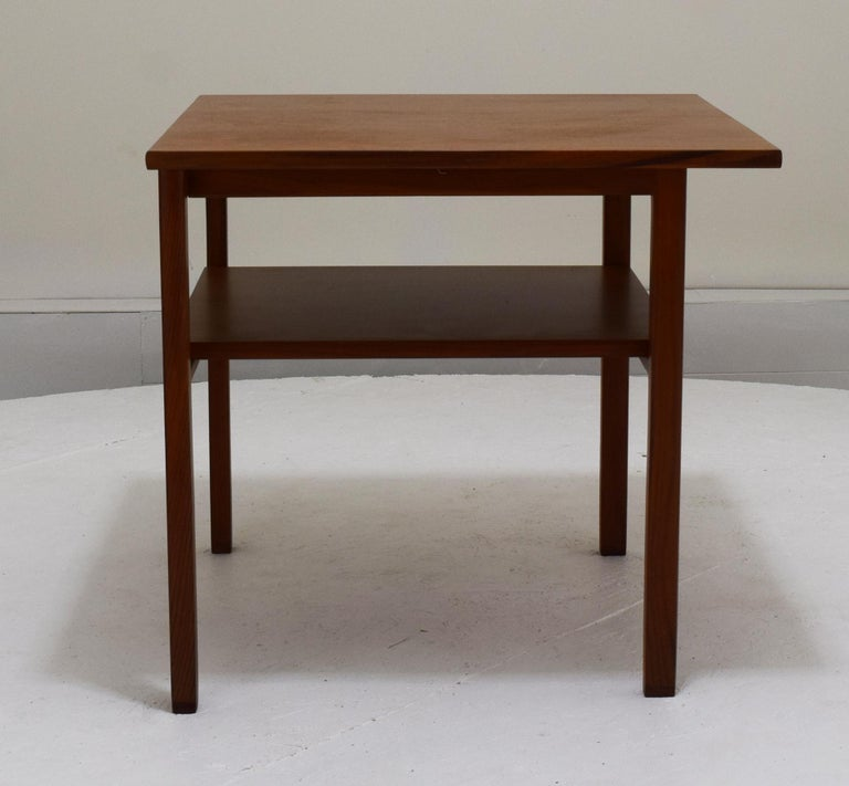 American Two-Tier Lamp Table by Dunbar with Cantilevered Top in Walnut For Sale