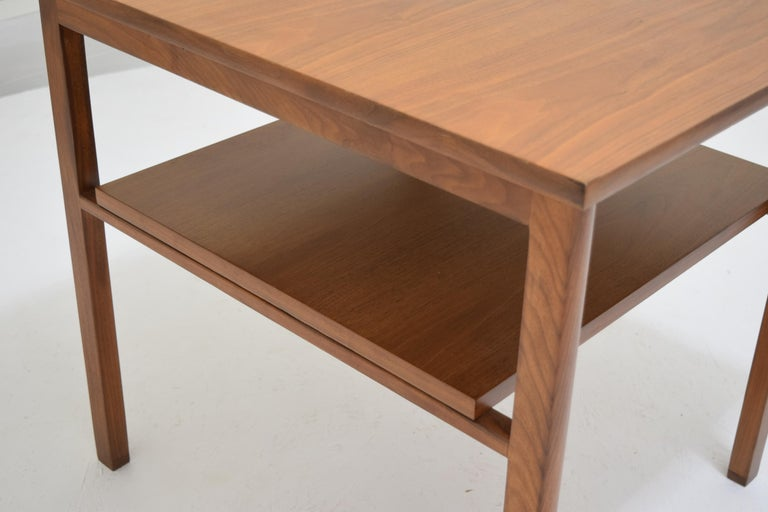 Lacquer Two-Tier Lamp Table by Dunbar with Cantilevered Top in Walnut For Sale