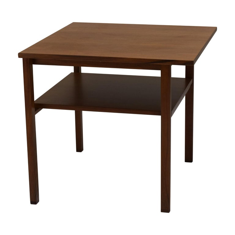 Two-Tier Lamp Table by Dunbar with Cantilevered Top in Walnut For Sale