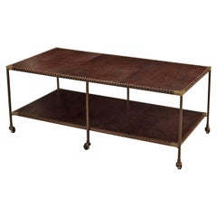 Two-Tier Leather Top Coffee Table