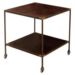 Two-Tier Leather Top End Table