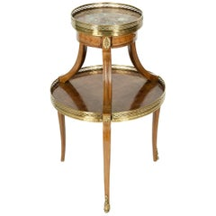 Two-Tier Marble-Top Marquetry Side or End Table