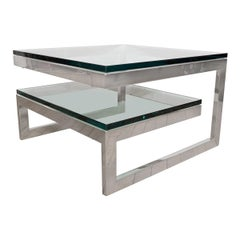 Two-Tier Nickel and Glass Interwoven Side Table