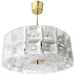 Two-Tier Orrefors Crystal Flush Mount Designed by Carl Fagerlund, 1970, Sweden