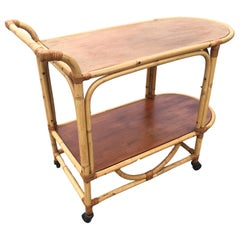 Two-Tier Rattan and Mahogany Tombstone Bar Cart